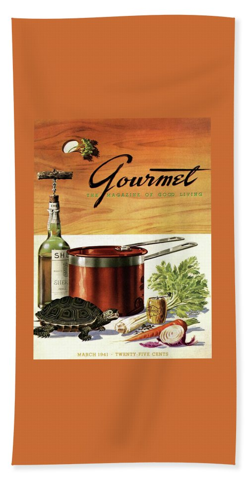 A Gourmet Cover Of Turtle Soup Ingredients Bath Towel