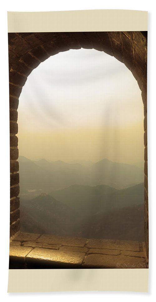 Great Wall Of China Bath Sheet featuring the photograph A Great View Of China by Nicola Nobile