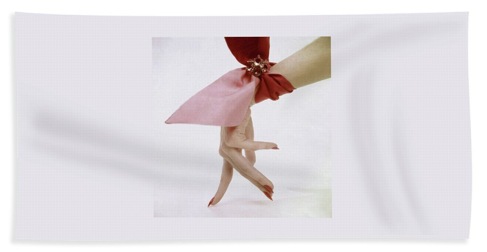 Accessories Bath Towel featuring the photograph A Hand With A Wrist Scarf by Clifford Coffin