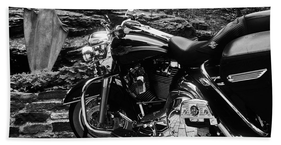 Harley Davidson Hand Towel featuring the photograph A Harley Davidson And The Virgin Mary by Andy Prendy