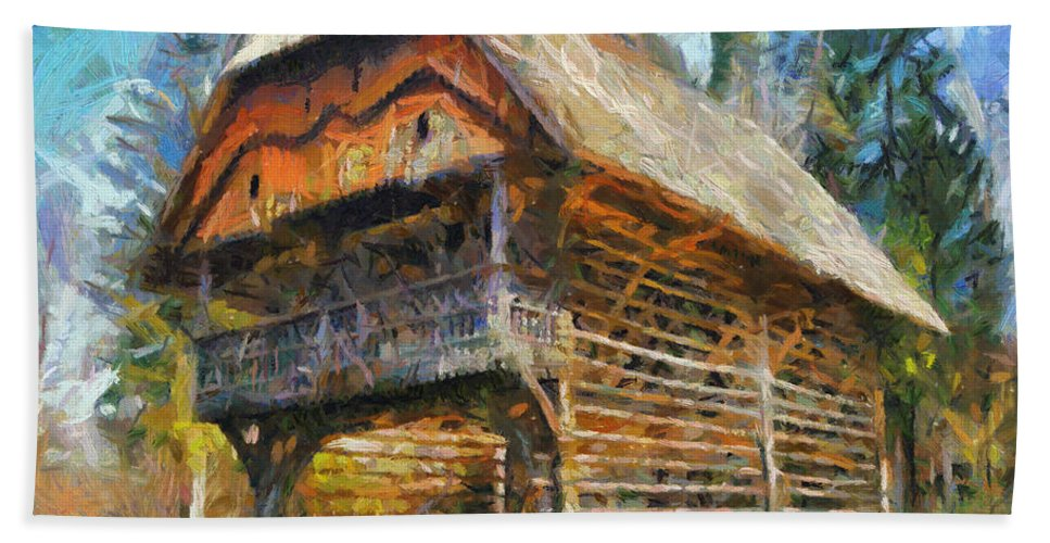 Landscapes Hand Towel featuring the painting A Hayrack by Dragica Micki Fortuna
