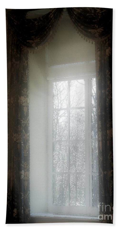 Curtains Bath Towel featuring the painting A Hazy Shade Of Winter by RC DeWinter