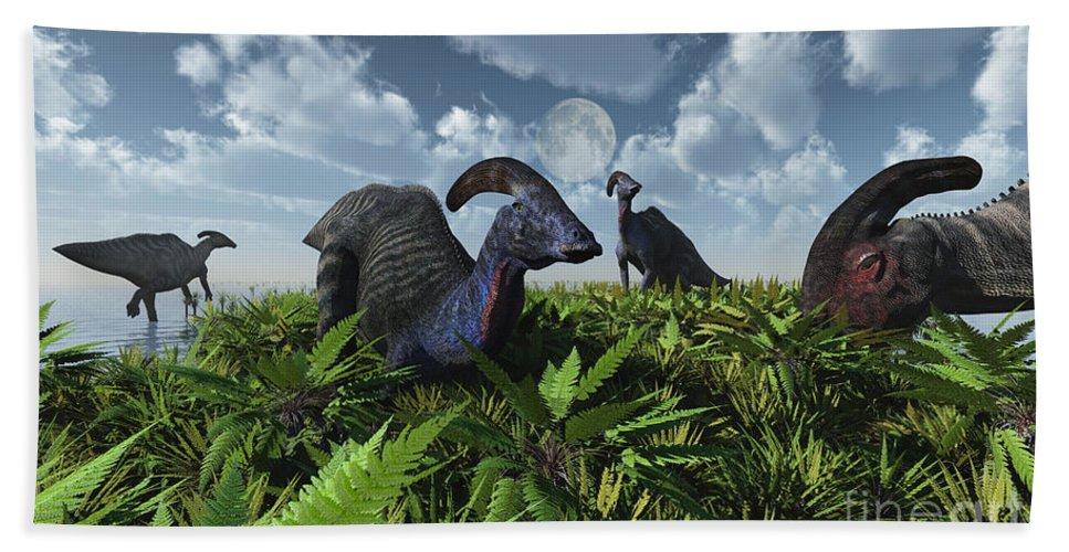 Artwork Hand Towel featuring the digital art A Herd Of Herbivorous Parasaurolophus by Mark Stevenson