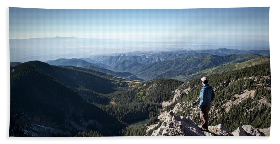 Adult Bath Sheet featuring the photograph A Hiker Looks At The View by Ryan Heffernan