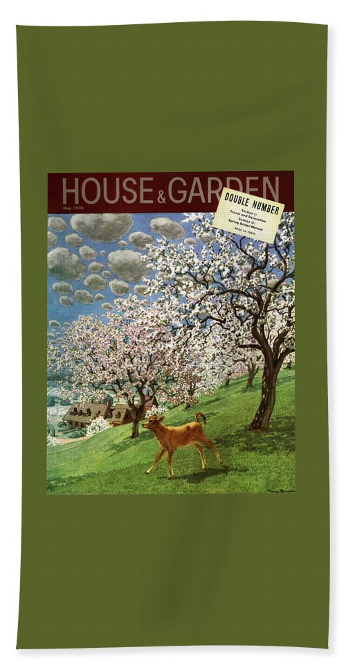 Illustration Bath Towel featuring the photograph A House And Garden Cover Of A Calf by Pierre Brissaud