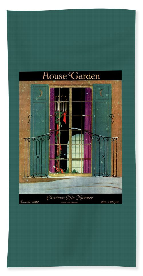 Illustration Bath Towel featuring the photograph A House And Garden Cover Of A Christmas by Harry Richardson