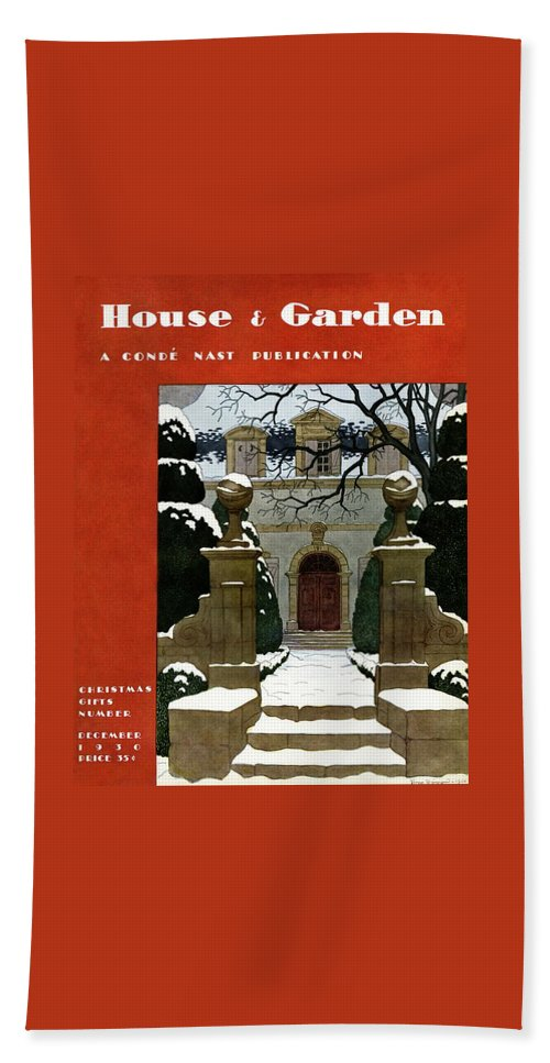 Exterior Hand Towel featuring the photograph A House And Garden Cover Of A Mansion by Pierre Brissaud