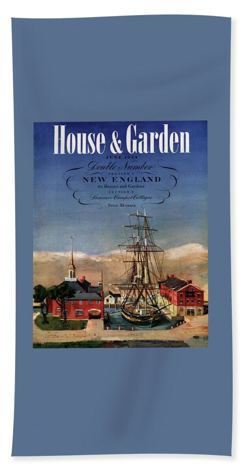 Illustration Bath Towel featuring the photograph A House And Garden Cover Of A Model Ship by Louis Bouche