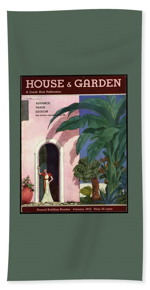 Illustration Bath Towel featuring the photograph A House And Garden Cover Of A Woman In A Doorway by Georges Lepape