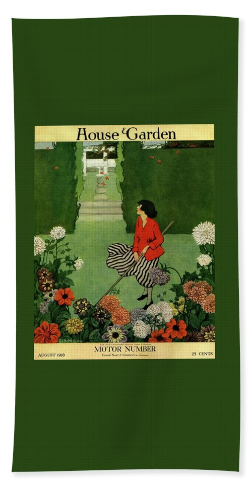 A House And Garden Cover Of A Woman Raking Leaves Bath Towel
