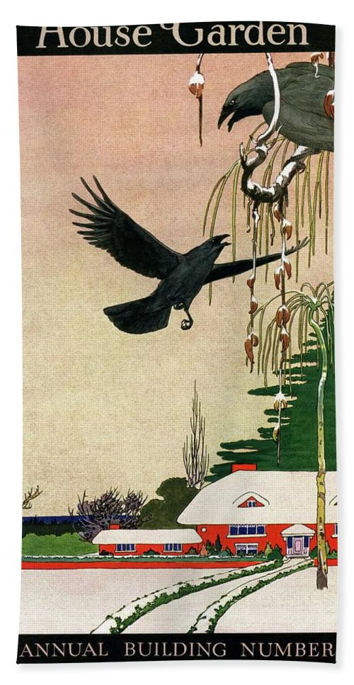 Illustration Bath Towel featuring the photograph A House And Garden Cover Of Crows By A House by Charles Livingston Bull