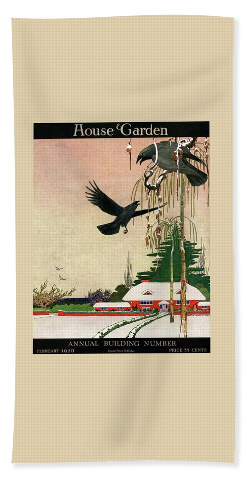 Illustration Hand Towel featuring the photograph A House And Garden Cover Of Crows By A House by Charles Livingston Bull
