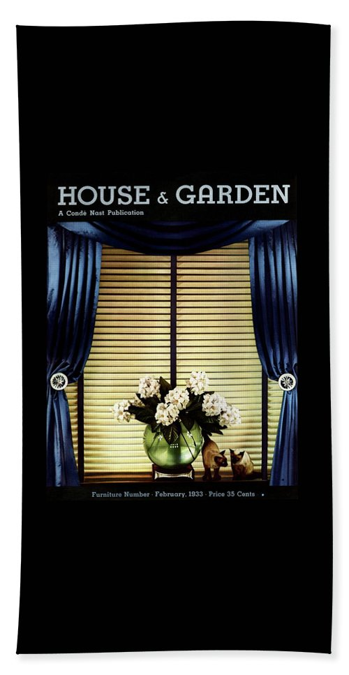 Illustration Bath Towel featuring the photograph A House And Garden Cover Of Flowers By A Window by Anton Bruehl