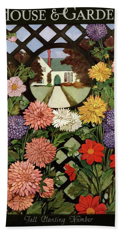 Illustration Bath Towel featuring the photograph A House And Garden Cover Of Flowers by Ethel Franklin Betts Baines