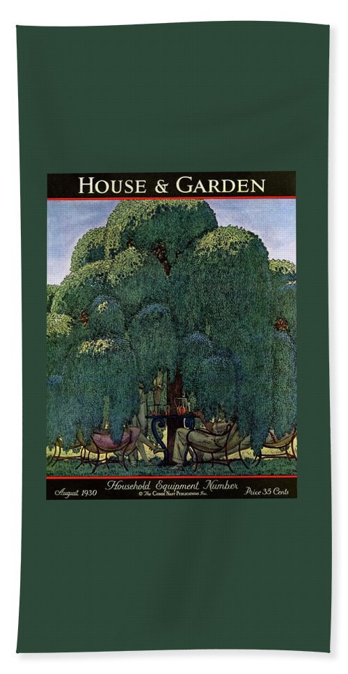Illustration Bath Towel featuring the photograph A House And Garden Cover Of People Dining by Pierre Brissaud
