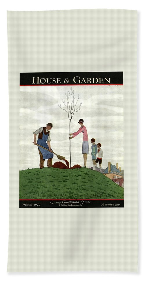 Illustration Hand Towel featuring the photograph A House And Garden Cover Of People Planting by Andre E. Marty