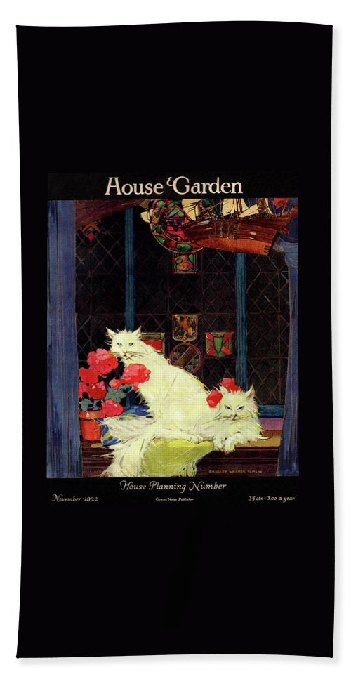 Illustration Bath Towel featuring the photograph A House And Garden Cover Of White Cats by Bradley Walker Tomlin