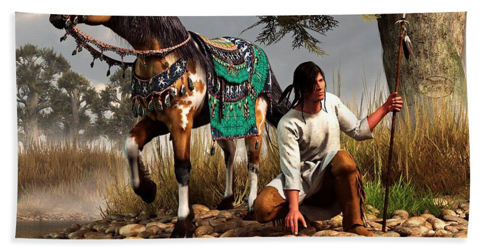 Bath Towel featuring the digital art A Hunter And His Horse by Daniel Eskridge