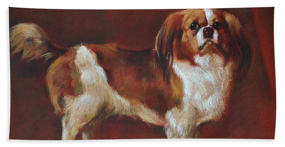Pastel Hand Towel featuring the pastel A King Charles Spaniel by Iliyan Bozhanov