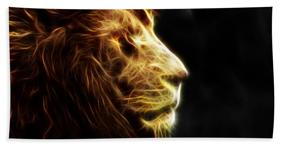 Lion Hand Towel featuring the photograph A King's Look 2 by Ben Yassa