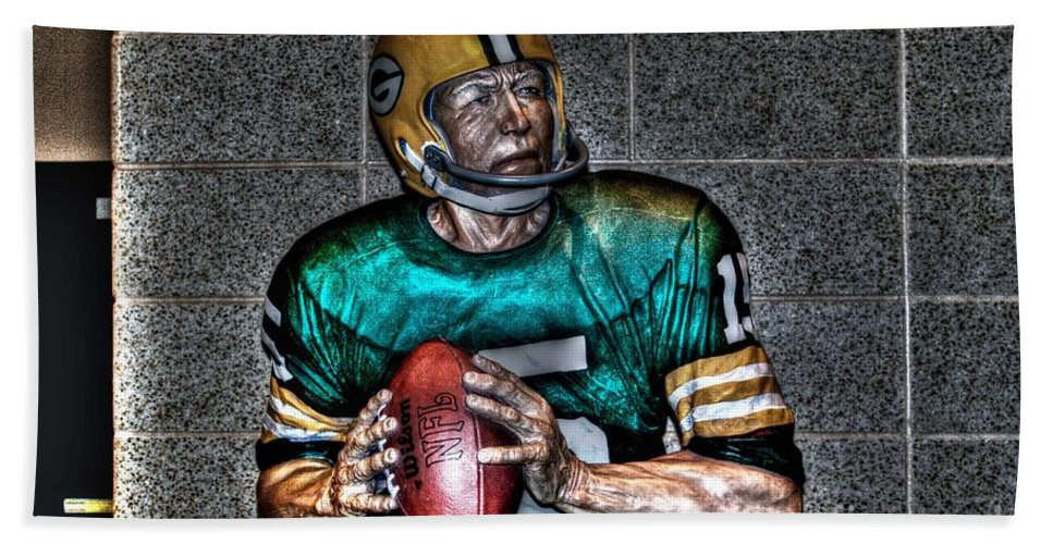 Lambeau Field Hand Towel featuring the photograph A Legend by Tommy Anderson