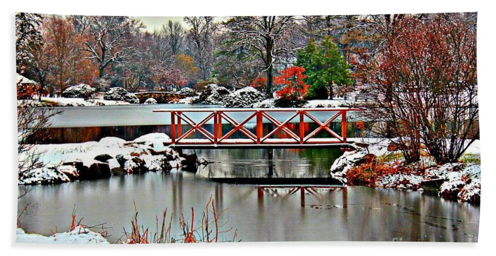 Winter Hand Towel featuring the photograph A Light Dusting Of Snow by Judy Palkimas