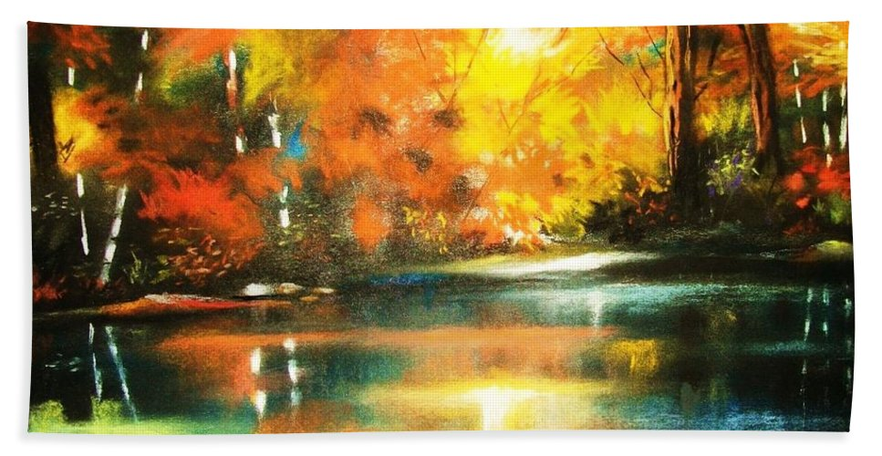 Forest Hand Towel featuring the painting A Light In The Forest by Al Brown