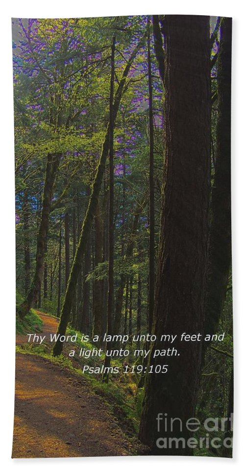 Scripture Hand Towel featuring the photograph A Light Unto My Path by Charles Robinson
