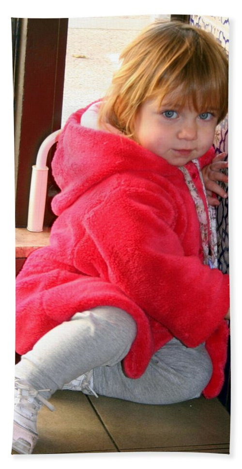 Girl Hand Towel featuring the photograph A Little Girl In Red by Laurel Talabere