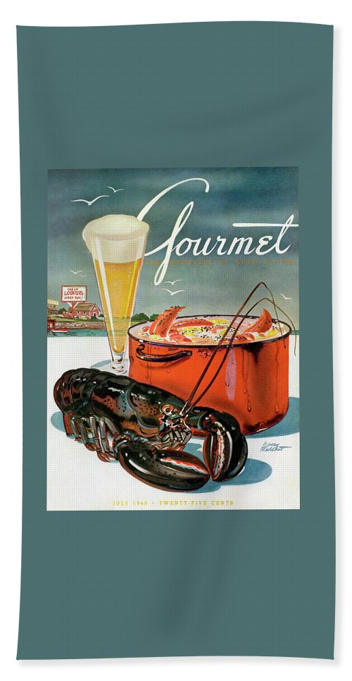 Illustration Bath Towel featuring the photograph A Lobster And A Lobster Pot With Beer by Henry Stahlhut