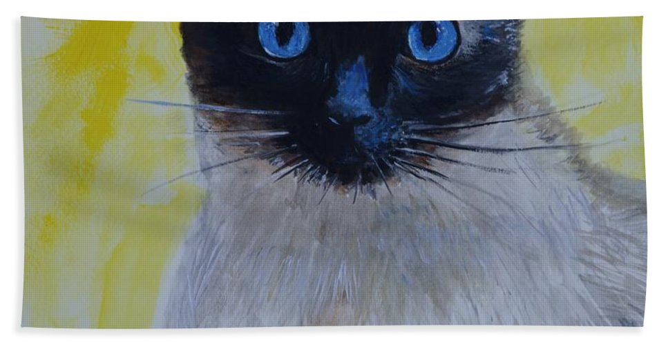 Siamese Hand Towel featuring the painting A Loving Siamese by Leslie Allen