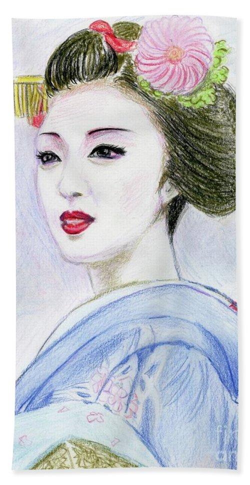 Geisha Bath Sheet featuring the drawing A Maiko Girl by Yoshiko Mishina