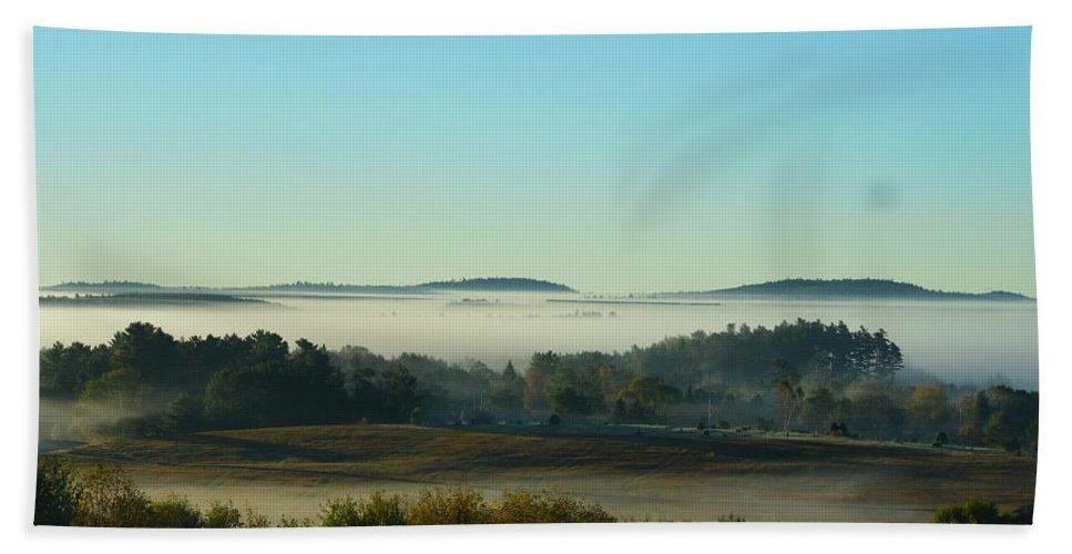 Fog Bath Sheet featuring the photograph A Maine Foggy Morn by Lena Hatch