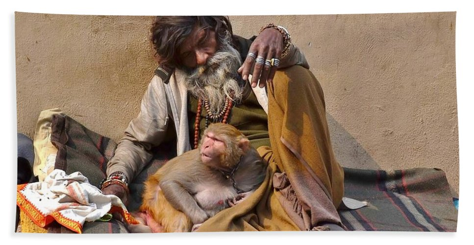 Portrait Hand Towel featuring the photograph A Man And His Monkey - Varanasi India by Kim Bemis
