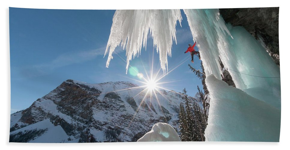 35-39 Years Hand Towel featuring the photograph A Man Ice Climbing Louise Falls by Kennan Harvey