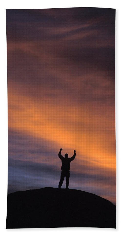 Accomplishment Hand Towel featuring the photograph A Man In Lone Pine, California by Corey Rich