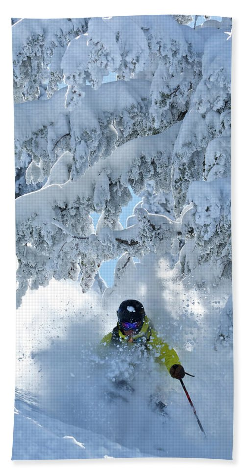 Adult Bath Towel featuring the photograph A Man Skis In Wyoming by Derek DiLuzio