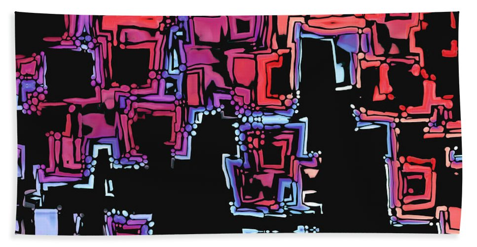 Abstract Bath Sheet featuring the digital art A Maze Zing - 01c07a by Variance Collections