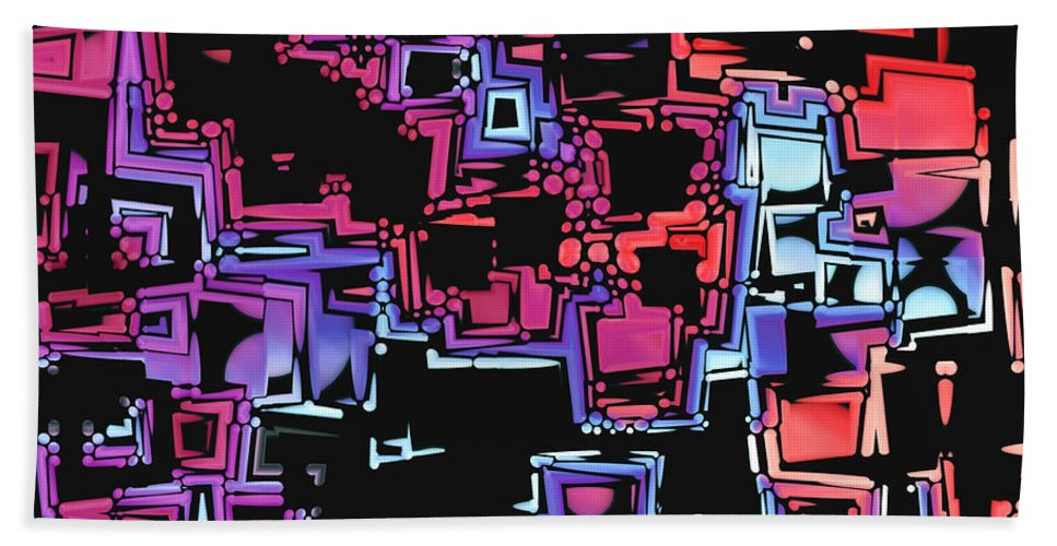Abstract Bath Sheet featuring the digital art A Maze Zing - 03c07 by Variance Collections