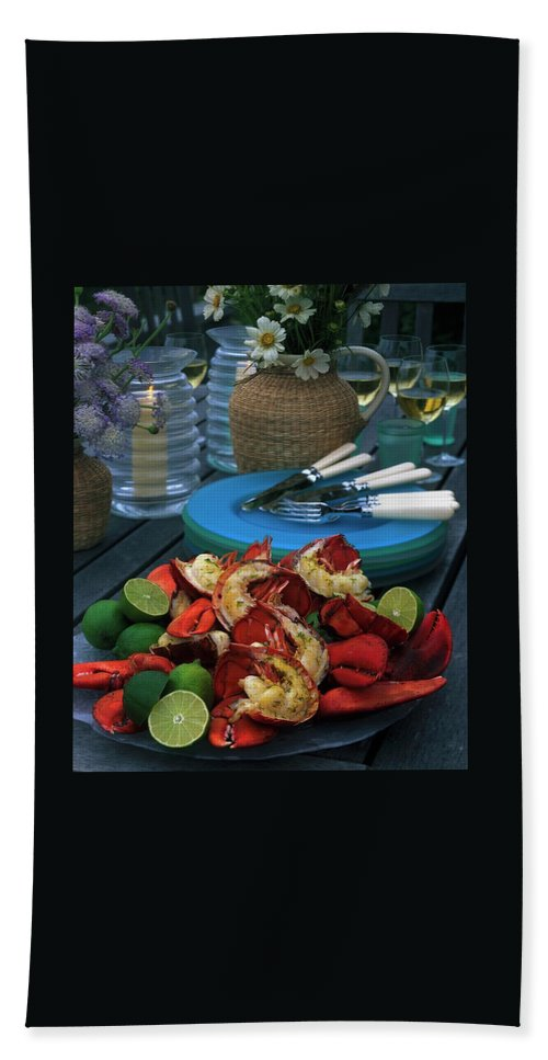 A Meal With Lobster And Limes Bath Towel