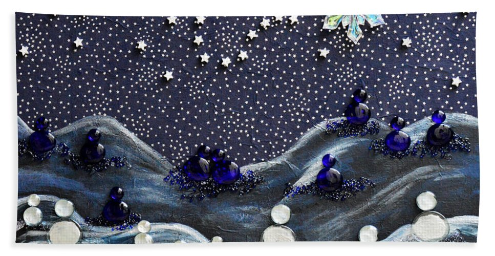 Snow Hand Towel featuring the mixed media A Midnight Clear by Donna Blackhall