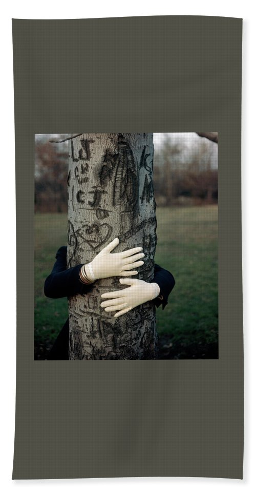 Fashion Bath Towel featuring the photograph A Model Hugging A Tree by Frances Mclaughlin-Gill