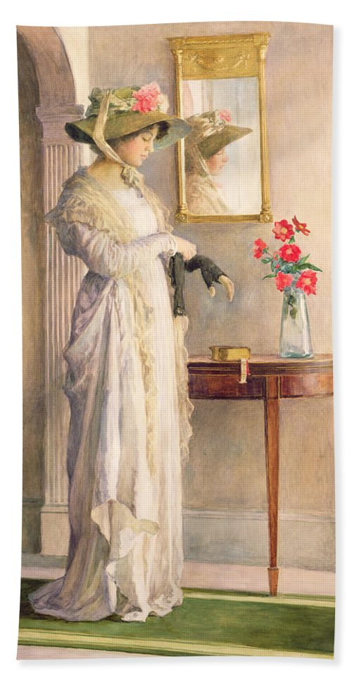 Female Hand Towel featuring the painting A Moment's Reflection by William Henry Margetson