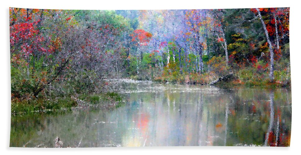 Autumn Bath Sheet featuring the photograph A Monet Autumn by Mariarosa Rockefeller