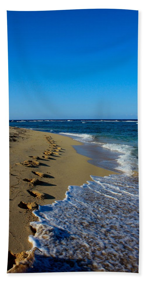 Dominican Republic Hand Towel featuring the photograph A Morning Walk On A Dominican Beach by Anthony Doudt