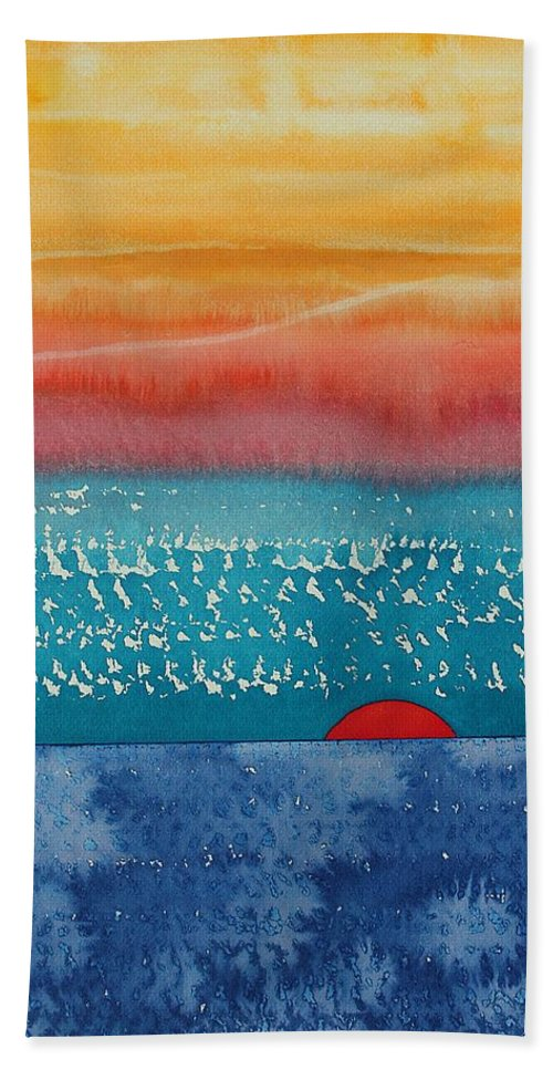 Dawn Bath Sheet featuring the painting A New Day Dawns Original Painting by Sol Luckman