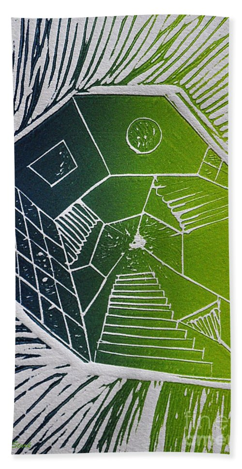 Linocut Hand Towel featuring the mixed media A New Dimension Blue And Green Linocut by Verana Stark