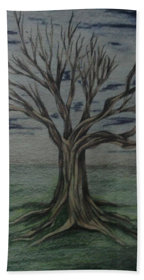 Tree Hand Towel featuring the drawing a New Start by Robert Usher
