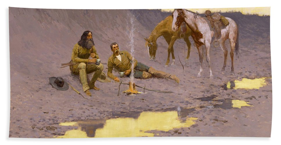Frederic Remington Bath Sheet featuring the painting A New Year On The Cimarron by Frederic Remington