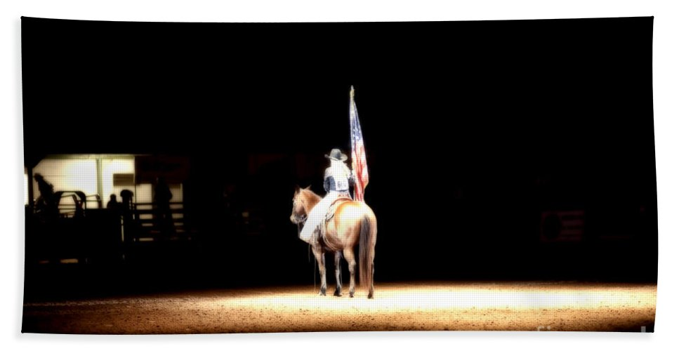 Night Hand Towel featuring the photograph A Night At The Rodeo by Douglas Barnard